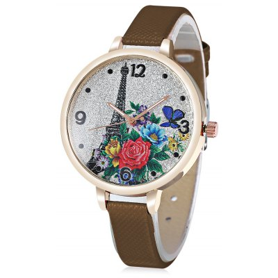 Tower Pattern Ladies Quartz Watch with Leather Strap