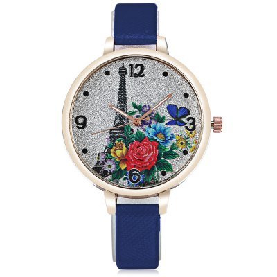 Tower Pattern Ladies Quartz Watch with Leather StrapWomens Watches<br>Tower Pattern Ladies Quartz Watch with Leather Strap<br><br>Band material: Leather<br>Band size: 22.00 x 1.00 cm / 8.66 x 0.39 inches<br>Case material: Alloy<br>Clasp type: Pin buckle<br>Dial size: 3.50 x 3.50 x 0.80 cm / 1.38 x 1.38 x 0.31 inches<br>Display type: Analog<br>Movement type: Quartz watch<br>Package Contents: 1 x Quartz Watch<br>Package size (L x W x H): 25.00 x 5.00 x 3.00 cm / 9.84 x 1.97 x 1.18 inches<br>Package weight: 0.0550 kg<br>Product size (L x W x H): 22.00 x 3.50 x 0.80 cm / 8.66 x 1.38 x 0.31 inches<br>Product weight: 0.0230 kg<br>Shape of the dial: Round<br>Watch color: Light blue, Bue, Pink, Red, Brown, White, Black, Rose red<br>Watch style: Casual<br>Watches categories: Female table<br>Water resistance : Life water resistant<br>Wearable length: 16.00 - 21.00 cm / 6.29 - 8.26 inches