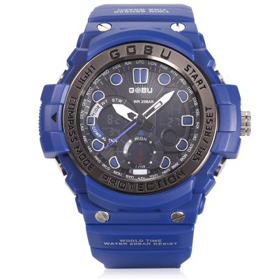GOBU 1619 Men LED Quartz Digital Sports WatchLED Watches<br>GOBU 1619 Men LED Quartz Digital Sports Watch<br><br>Band material: Rubber<br>Band size: 24.00 x 2.50 cm / 9.44 x 0.98 inches<br>Brand: Gobu<br>Case material: PC<br>Clasp type: Pin buckle<br>Dial size: 5.00 x 5.00 x 1.50 cm / 1.97 x 1.97 x 0.59 inches<br>Display type: Analog-Digital<br>Movement type: Quartz + digital watch<br>Package Contents: 1 x GOBU 1619 Men LED Sports Quartz Digital Watch<br>Package size (L x W x H): 26.00 x 7.00 x 3.00 cm / 10.24 x 2.76 x 1.18 inches<br>Package weight: 0.1100 kg<br>People: Male table<br>Product size (L x W x H): 24.00 x 5.00 x 1.50 cm / 9.45 x 1.97 x 0.59 inches<br>Product weight: 0.0710 kg<br>Shape of the dial: Round<br>Special features: Stopwatch, Alarm Clock, GMT<br>Watch color: Army Green, Black, Red, Black + Red, Blue<br>Watch style: Outdoor Sports<br>Water resistance : Life water resistant<br>Wearable length: 15.00 - 22.00 cm / 5.90 - 8.66 inches