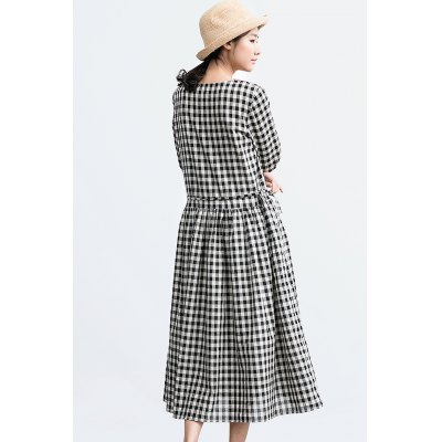 ZIMO 3/4 Sleeve Round Neck Plaid DressBottoms<br>ZIMO 3/4 Sleeve Round Neck Plaid Dress<br><br>Brand: ZIMO<br>Dresses Length: Mid-Calf<br>Material: Cotton Blend, Linen<br>Package Contents: 1 x Dress<br>Package size: 36.00 x 2.00 x 26.00 cm / 14.17 x 0.79 x 10.24 inches<br>Package weight: 0.4200 kg<br>Pattern Type: Plaid<br>Product weight: 0.3800 kg<br>Season: Fall, Summer, Spring<br>Silhouette: Bud<br>Size: L,M,S,XL<br>Style: Casual<br>With Belt: No