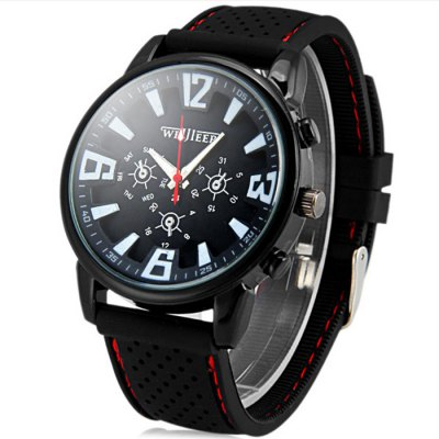 Weijieer 578 Male Quartz Watch with Round Dial Stereo Ditigal Rubber Watch Band