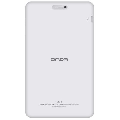 Onda V80 SE Tablet PCFeatured Tablets<br>Onda V80 SE Tablet PC<br><br>3.5mm Headphone Jack: Yes<br>Additional Features: Wi-Fi, Calculator, Calendar, Gravity Sensing System, Browser, Bluetooth, Alarm, MP3<br>Back camera: 0.3MP<br>Battery Capacity(mAh): 3.7V / 4200mAh, Li-ion polymer battery<br>Bluetooth: Yes<br>Brand: Onda<br>Camera type: Dual cameras (one front one back)<br>Charging LED Light: Supported<br>Charging Time.: 3-4 hours<br>Core: 1.3GHz, Quad Core<br>CPU: A64<br>CPU Brand: All Winner<br>DC Jack: Yes<br>External Memory: TF card up to 128GB (not included)<br>Front camera: 2.0MP<br>G-sensor: Supported<br>Google Play Store: Yes<br>IPS: Yes<br>Material of back cover: Plastic<br>MIC: Supported<br>Micro USB Slot: Yes<br>MS Office format: Excel, Word, PPT<br>Music format: MP3<br>OS: Android 5.1<br>Package size: 24.00 x 19.00 x 4.50 cm / 9.45 x 7.48 x 1.77 inches<br>Package weight: 0.5650 kg<br>Picture format: PNG, JPG, BMP, JPEG, GIF<br>Pre-installed Language: Supports multi-language as the screenshots<br>Product size: 21.30 x 12.60 x 1.00 cm / 8.39 x 4.96 x 0.39 inches<br>Product weight: 0.2990 kg<br>RAM: 2GB<br>ROM: 32GB<br>Screen resolution: 1920 x 1080 (FHD)<br>Screen size: 8 inch<br>Screen type: Capacitive (10-Point)<br>Skype: Supported<br>Speaker: Supported<br>Support Network: WiFi<br>Tablet PC: 1<br>TF card slot: Yes<br>Type: Tablet PC<br>USB Cable: 1<br>WIFI: 802.11b/g/n wireless internet<br>Youtube: Supported