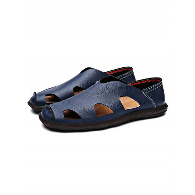 Hollow-out Men Leather SandalsMens Sandals<br>Hollow-out Men Leather Sandals<br><br>Color: Black,Blue,Deep Brown,Light Brown<br>Contents: 1 x Pair of Shoes<br>Materials: Genuine Leather, Rubber<br>Occasion: Casual<br>Package Size ( L x W x H ): 33.00 x 22.00 x 11.00 cm / 12.99 x 8.66 x 4.33 inches<br>Package Weights: 0.780kg<br>Pattern Type: Solid<br>Seasons: Summer<br>Size: 38,39,40,41,42,43,44<br>Style: Leisure<br>Type: Sandals