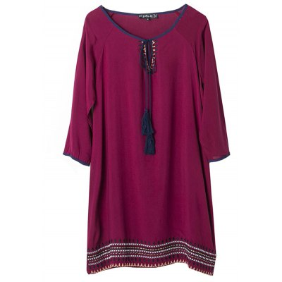 Half Sleeve Embroidery Lace Summer Loose Dress