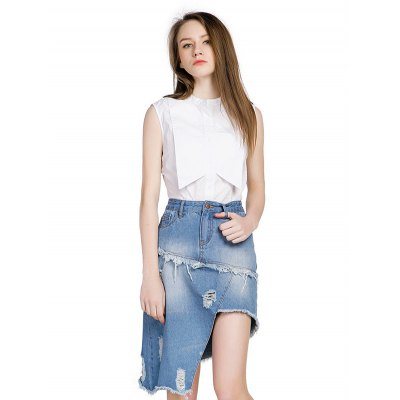 GENPRIOR Asymmetric Distressed Jean SkirtSkirts<br>GENPRIOR Asymmetric Distressed Jean Skirt<br><br>Brand: GENPRIOR<br>Dresses Length: Mini<br>Embellishment: Ripped<br>Fabric Type: Denim<br>Material: Cotton<br>Occasion: Party, Night Out<br>Package Contents: 1 x GENPRIOR Skirt<br>Package size: 32.00 x 28.00 x 2.00 cm / 12.6 x 11.02 x 0.79 inches<br>Package weight: 0.3500 kg<br>Pattern Type: Solid<br>Product weight: 0.3200 kg<br>Season: Summer<br>Silhouette: Asymmetrical<br>Size: L,M,S<br>Style: Novelty<br>With Belt: No