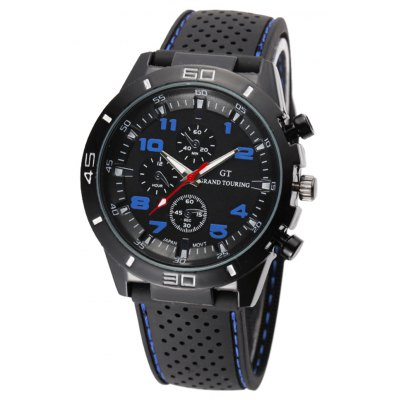 Fashion Sports Watch Analog with Round Dial Rubber Watch Band