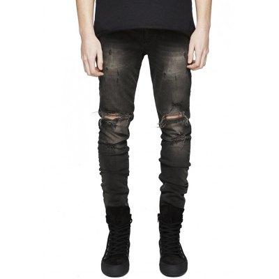 Skinny Men Jeans with Knee Rips in Bleach