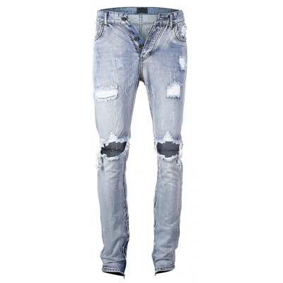 Washed Blue Distressed Skinny Jeans