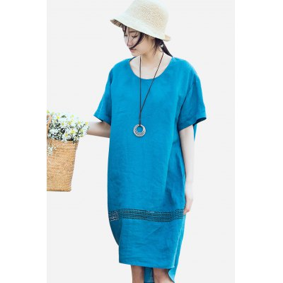 ZIMO Short Sleeve Hollow Out Loose DressBottoms<br>ZIMO Short Sleeve Hollow Out Loose Dress<br><br>Brand: ZIMO<br>Dresses Length: Knee-Length<br>Material: Ramie<br>Package Contents: 1 x Dress<br>Package size: 35.00 x 2.00 x 26.00 cm / 13.78 x 0.79 x 10.24 inches<br>Package weight: 0.4200 kg<br>Pattern Type: Solid Color<br>Product weight: 0.3800 kg<br>Season: Summer<br>Silhouette: Smock<br>Size: L,M,S,XL<br>Style: Casual<br>With Belt: No