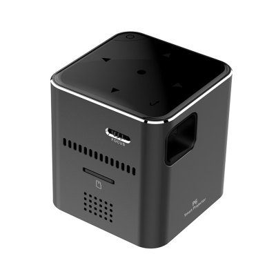 P6 Portable Smart  Mini DLP LED WiFi ProjectorProjectors<br>P6 Portable Smart  Mini DLP LED WiFi Projector<br><br>3D: No<br>Aspect ratio: 1.2?1<br>Audio Formats: MP3 / AMR / RM / M4A / FLAC etc.<br>Bluetooth: Unsupport<br>Brightness: 80 Ansi Lumens<br>Built-in Speaker: Yes<br>Contrast Ratio: 1000:1<br>Display type: DLP<br>DVB-T Supported: No<br>External Subtitle Supported: No<br>Image Scale: 4:3<br>Image Size: 50 - 120 inch<br>Lamp Life: 30000 hours<br>Material: Aluminum<br>Model: P6<br>Native Resolution: 640 x 480<br>Package Contents: 1 x P6 Projector, 1 x Power Adapter, 1 x USB Cable, 1 x 15cm Tripod<br>Package size (L x W x H): 12.00 x 12.00 x 10.80 cm / 4.72 x 4.72 x 4.25 inches<br>Package weight: 0.5400 kg<br>Picture Formats: JPEP / BMP / GIF / TIF / PNG etc.<br>Power Supply: 5V<br>Product size (L x W x H): 4.30 x 4.75 x 4.30 cm / 1.69 x 1.87 x 1.69 inches<br>Product weight: 0.1130 kg<br>Projection Distance: 0.3 - 3.5M<br>Throw Ration: 1.5<br>Tripod Height: 15cm ( included )<br>Video Formats: AVI / MKV / WMV / MOV / FLV / MP4 / MPEG etc.