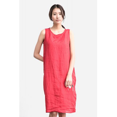ZIMO Pure Color Sleeveless Loose Dress with Leaf Embroidery