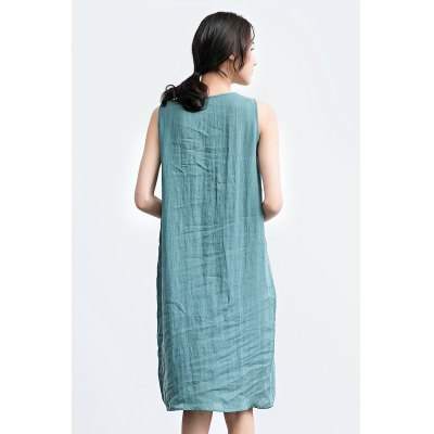 ZIMO Pure Color Sleeveless Loose Dress with Leaf EmbroideryBottoms<br>ZIMO Pure Color Sleeveless Loose Dress with Leaf Embroidery<br><br>Brand: ZIMO<br>Dresses Length: Knee-Length<br>Embellishment: Embroidery<br>Material: Ramie<br>Neckline: Round Collar<br>Occasion: Casual, Beach and Summer<br>Package Contents: 1 x ZIMO Dress<br>Package size: 35.00 x 2.00 x 26.00 cm / 13.78 x 0.79 x 10.24 inches<br>Package weight: 0.3700 kg<br>Pattern Type: Floral<br>Product weight: 0.3300 kg<br>Season: Summer<br>Silhouette: Fit and Flare<br>Size: L,M,S<br>Sleeve Length: Sleeveless<br>Style: Brief<br>With Belt: No