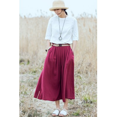 ZIMO Pleated Belted Waist Long Skirt with PocketBottoms<br>ZIMO Pleated Belted Waist Long Skirt with Pocket<br><br>Brand: ZIMO<br>Dresses Length: Mid-Calf<br>Embellishment: Belted<br>Material: Linen, Viscose<br>Occasion: Casual, Beach and Summer<br>Package Contents: 1 x ZIMO Skirt, 1 x Belt<br>Package size: 36.00 x 2.00 x 26.00 cm / 14.17 x 0.79 x 10.24 inches<br>Package weight: 0.3800 kg<br>Pattern Type: Solid<br>Product weight: 0.3400 kg<br>Season: Summer<br>Silhouette: Fit and Flare<br>Size: L,M,S<br>Style: Cute<br>With Belt: Yes