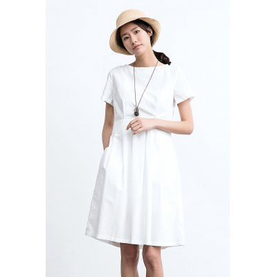 ZIMO Pure Color Waisted DressBottoms<br>ZIMO Pure Color Waisted Dress<br><br>Brand: ZIMO<br>Dresses Length: Knee-Length<br>Embellishment: Pleated<br>Material: Cotton<br>Neckline: Round Collar<br>Occasion: Work, Casual, Beach and Summer<br>Package Contents: 1 x ZIMO Dress<br>Package size: 36.00 x 2.00 x 26.00 cm / 14.17 x 0.79 x 10.24 inches<br>Package weight: 0.4200 kg<br>Pattern Type: Solid<br>Product weight: 0.3800 kg<br>Season: Summer<br>Silhouette: A-Line<br>Size: L,M,S<br>Sleeve Length: Short Sleeves<br>Style: Brief<br>With Belt: No