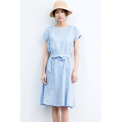 ZIMO Pure Color Knee-length A-line Dress with BeltBottoms<br>ZIMO Pure Color Knee-length A-line Dress with Belt<br><br>Brand: ZIMO<br>Dresses Length: Knee-Length<br>Embellishment: Belted<br>Material: Ramie<br>Neckline: Round Collar<br>Occasion: Work, Casual, Beach and Summer<br>Package Contents: 1 x ZIMO Dress<br>Package size: 36.00 x 2.00 x 26.00 cm / 14.17 x 0.79 x 10.24 inches<br>Package weight: 0.4200 kg<br>Pattern Type: Solid<br>Product weight: 0.3800 kg<br>Season: Summer<br>Silhouette: A-Line<br>Size: L,M,S,XL<br>Sleeve Length: Short Sleeves<br>Style: Brief<br>With Belt: Yes