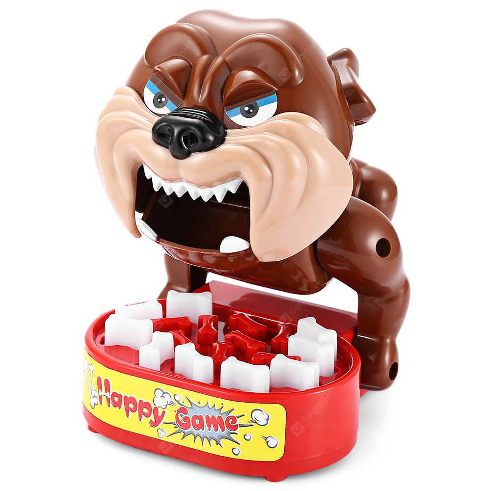 Tricky Bite Finger Large Mouth Bulldog Family Game Toy BROWN