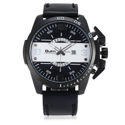 Oulm 3745 Male Quartz WatchMens Watches<br>Oulm 3745 Male Quartz Watch<br><br>Band material: Leather<br>Band size: 27.5 x 2.40 cm / 10.83 x 0.94 inches<br>Brand: Oulm<br>Case material: Alloy<br>Clasp type: Pin buckle<br>Dial size: 5.20 x 5.20 x 1.3cm / 2.05 x 2.05 x 0.51 inches<br>Display type: Analog<br>Movement type: Quartz watch<br>Package Contents: 1 x Oulm 3745 Men Watch<br>Package size (L x W x H): 28.50 x 6.20 x 2.30 cm / 11.22 x 2.44 x 0.91 inches<br>Package weight: 0.1370 kg<br>Product size (L x W x H): 27.50 x 5.20 x 1.30 cm / 10.83 x 2.05 x 0.51 inches<br>Product weight: 0.1060 kg<br>Shape of the dial: Round<br>Special features: Date<br>Watch color: Black, Brown<br>Watch mirror: Mineral glass<br>Watch style: Business, Fashion<br>Watches categories: Male table<br>Water resistance : 30 meters<br>Wearable length: 20.00 - 25.00cm / 7.87 - 9.84 inches