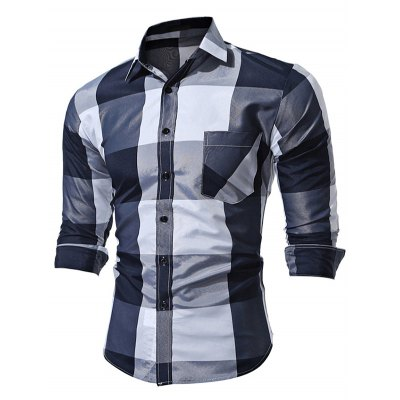 WSGYJ Big Plaid Men's Shirts with Front Pocket