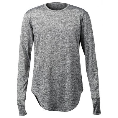 Arc Hem Long Sleeve Men\'s T Shirts with Hollow-out Thumb
