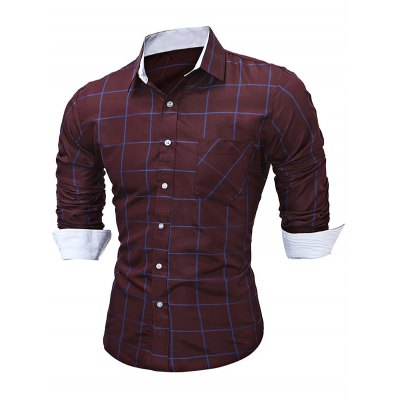 WSGYJ Slim Fit Men\'s Plaid Shirts with Front Pocket