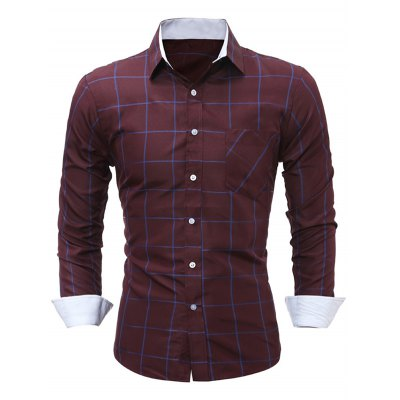 WSGYJ Slim Fit Men's Plaid Shirts with Front Pocket