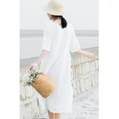 ZIMO Pure Color Lace-up Waist Loose DressBottoms<br>ZIMO Pure Color Lace-up Waist Loose Dress<br><br>Brand: ZIMO<br>Dresses Length: Mid-Calf<br>Embellishment: Lace up<br>Material: Cotton, Linen<br>Neckline: Round Collar<br>Occasion: Casual, Work, Beach and Summer<br>Package Contents: 1 x ZIMO Dress<br>Package size: 36.00 x 1.00 x 26.00 cm / 14.17 x 0.39 x 10.24 inches<br>Package weight: 0.4200 kg<br>Pattern Type: Solid<br>Product weight: 0.3900 kg<br>Season: Summer<br>Silhouette: Swing<br>Size: L,M,S,XL<br>Sleeve Length: Half Sleeves<br>Style: Brief<br>With Belt: Yes