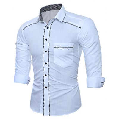 WSGYJ Plain Slim Fit Men\'s Shirts with Front Pocket