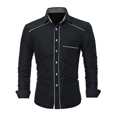WSGYJ Plain Slim Fit Men's Shirts with Front Pocket