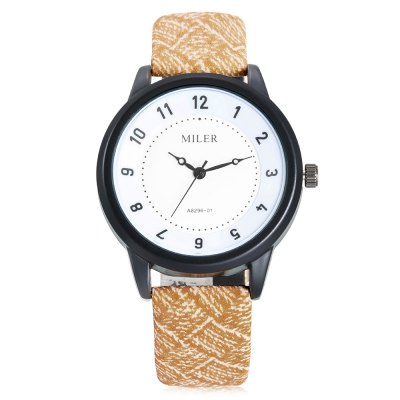 MILER A8296 - 01 Quartz Watch for WomenWomens Watches<br>MILER A8296 - 01 Quartz Watch for Women<br><br>Band material: Leather<br>Band size: 22.00 x 2.00 cm / 8.66 x 0.78 inches<br>Brand: Miler<br>Case material: Alloy<br>Dial size: 3.80 x 3.80 x 0.96 cm / 1.50 x 1.50 x 0.38 inches<br>Display type: Analog<br>Movement type: Quartz watch<br>Package Contents: 1 x MILER A8296 - 01 Women Quartz Watch<br>Package size (L x W x H): 24.00 x 5.00 x 2.20 cm / 9.45 x 1.97 x 0.87 inches<br>Package weight: 0.0690 kg<br>Product size (L x W x H): 22.00 x 3.80 x 0.96 cm / 8.66 x 1.5 x 0.38 inches<br>Product weight: 0.0390 kg<br>Shape of the dial: Round<br>Watch color: Black, red, Pink, Brown, Khaki, Purple<br>Watch style: Casual<br>Watches categories: Female table<br>Water resistance : Life water resistant<br>Wearable length: 16.00 - 20.00 cm / 6.29 - 7.87 inches