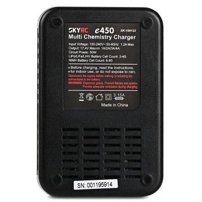 SKYRC e450 Balance ChargerCharger<br>SKYRC e450 Balance Charger<br><br>Brand: SKYRC<br>Charger Power Supply: AC<br>Input Voltage (V)  : 100 - 240V<br>Output Voltage (V)  : 17.4V ( max. )<br>Package Contents: 1 x Balance Charger, 1 x AC Power Cable, 1 x Charging Cable ( with XT60 and Banana Male Connector ), 1 x English Manual<br>Package size (L x W x H): 15.20 x 8.10 x 8.50 cm / 5.98 x 3.19 x 3.35 inches<br>Package weight: 0.3800 kg<br>Product size (L x W x H): 6.94 x 11.07 x 4.05 cm / 2.73 x 4.36 x 1.59 inches<br>Product weight: 0.2230 kg<br>Type: Balance Charger