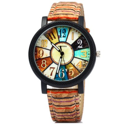 Sonsdo 6838 Unique Leather Strap Women Retro Quartz WatchWomens Watches<br>Sonsdo 6838 Unique Leather Strap Women Retro Quartz Watch<br><br>Band material: Leather<br>Brand: SONSDO<br>Case material: Alloy<br>Clasp type: Pin buckle<br>Display type: Analog<br>Movement type: Quartz watch<br>Package Contents: 1 x Sonsdo 6838 Watch<br>Package size (L x W x H): 25.30 x 4.80 x 1.80 cm / 9.96 x 1.89 x 0.71 inches<br>Package weight: 0.0830 kg<br>Product size (L x W x H): 24.30 x 3.80 x 0.80 cm / 9.57 x 1.5 x 0.31 inches<br>Product weight: 0.0330 kg<br>Shape of the dial: Round<br>Special features: Decorating small sub-dials<br>Style: Retro, Fashion&amp;Casual<br>The band width: 1.6 cm / 0.61 inches<br>The dial diameter: 3.8 cm / 1.49 inches<br>The dial thickness: 0.8 cm / 0.31 inches<br>Watches categories: Female table