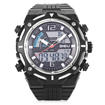 GOBU 1533 Men LED Quartz Digital Sports WatchLED Watches<br>GOBU 1533 Men LED Quartz Digital Sports Watch<br><br>Band material: Rubber<br>Band size: 22.00 x 2.50 cm / 8.66 x 0.98 inches<br>Brand: Gobu<br>Case material: PC<br>Clasp type: Pin buckle<br>Dial size: 4.80 x 4.80 x 1.70 cm / 1.89 x 1.89 x 0.67 inches<br>Display type: Analog-Digital<br>Movement type: Quartz + digital watch<br>Package Contents: 1 x GOBU 1533 Men LED Sports Quartz Digital Watch<br>Package size (L x W x H): 25.00 x 5.00 x 3.00 cm / 9.84 x 1.97 x 1.18 inches<br>Package weight: 0.0940 kg<br>People: Male table<br>Product size (L x W x H): 22.00 x 4.80 x 1.70 cm / 8.66 x 1.89 x 0.67 inches<br>Product weight: 0.0640 kg<br>Shape of the dial: Round<br>Special features: Alarm Clock, Stopwatch<br>Watch style: Outdoor Sports<br>Water resistance : Life water resistant<br>Wearable length: 17.00 - 22.00 cm / 6.69 - 8.66 inches