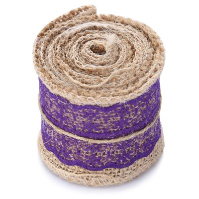 Natural Burlap Craft Ribbon Roll with Lace