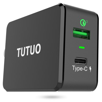 TUTUO QC 3.0 Power Adapter DockChargers &amp; Cables<br>TUTUO QC 3.0 Power Adapter Dock<br><br>Brand: TUTUO<br>Color: Black<br>Input: AC 100 - 240V, 50 / 60Hz, 1A<br>Material ( Cable&amp;Adapter): ABS<br>Output: QC 3.0 USB port: 3.6 - 6.5V / 3A, 6.5 - 9V / 2A, 9 - 12V / 1.5A; USB Type-C port: 5V / 3A<br>Package Contents: 1 x Power Charger, 1 x English Manual<br>Package size (L x W x H): 13.60 x 9.60 x 4.20 cm / 5.35 x 3.78 x 1.65 inches<br>Package weight: 0.1610 kg<br>Plug: EU plug,US plug<br>Product size (L x W x H): 10.70 x 5.00 x 2.80 cm / 4.21 x 1.97 x 1.1 inches<br>Product weight: 0.1070 kg<br>Type: Adapters
