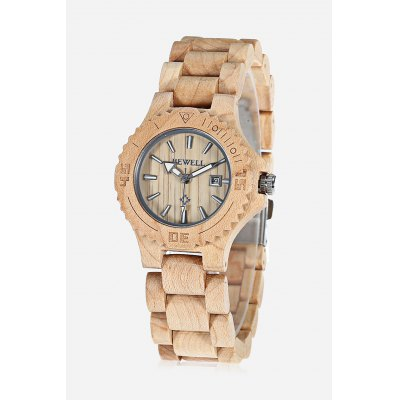 BEWELL ZS - W020A Women Wooden Quartz Watch Nail Scale Calendar Wristwatch
