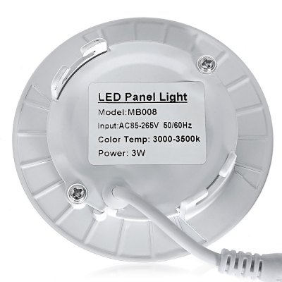 MB008 15 x SMD2835 3W 250LM Round LED Panel LightCeiling Lights<br>MB008 15 x SMD2835 3W 250LM Round LED Panel Light<br><br>Body Material: ABS<br>Is Dimmable: No<br>Package Contents: 1 x Panel Light<br>Package Size(L x W x H): 11.00 x 4.00 x 15.00 cm / 4.33 x 1.57 x 5.91 inches<br>Package weight: 0.1280 kg<br>Power Source: AC<br>Product Size(L x W x H): 9.00 x 9.00 x 2.00 cm / 3.54 x 3.54 x 0.79 inches<br>Product weight: 0.0930 kg<br>Voltage: 85-265V
