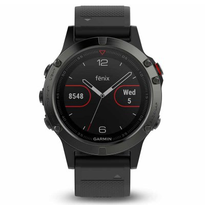 Garmin Fenix 5 Bluetooth SmartwatchSmart Watches<br>Garmin Fenix 5 Bluetooth Smartwatch<br><br>Alert type: Ring, Vibration<br>Band material: Synthetic Resin, Synthetic Resin<br>Band size: 22 x 2.0 cm, 22 x 2.0 cm<br>Battery  Capacity: 300mAh<br>Bluetooth calling: Callers name display,Phone call reminder,Phonebook<br>Bluetooth Version: Bluetooth 4.0<br>Brand: GARMIN<br>Case material: Stainless Steel, Stainless Steel<br>Charging Time: About 4 hours<br>Compatability: Android 4.3 and iOS 7.0 above, Android 4.3 and iOS 7.0 above<br>Compatible OS: IOS, Android, IOS, Android<br>Dial size: 4.2 x 4.2 x 1.4 cm , 4.2 x 4.2 x 1.4 cm<br>Find phone: Yes<br>Groups of alarm: 5<br>Health tracker: Heart rate monitor,Pedometer,Sedentary reminder,Sleep monitor<br>IP rating: IP67<br>Messaging: Message reminder<br>Notification: Yes<br>Notification type: Twitter, Wechat, G-mail, Facebook<br>Operating mode: Press button<br>Package Contents: 1 x GARMIN Fenix 5 Smartwatch, 1 x Extra Watchband, 1 x English Manual, 1 x USB Charger, 1 x GARMIN Fenix 5 Smartwatch, 1 x Extra Watchband, 1 x English Manual, 1 x USB Charger<br>Package size (L x W x H): 15.70 x 10.00 x 10.00 cm / 6.18 x 3.94 x 3.94 inches, 15.70 x 10.00 x 10.00 cm / 6.18 x 3.94 x 3.94 inches<br>Package weight: 0.4500 kg, 0.4500 kg<br>People: Female table,Male table<br>Product size (L x W x H): 22.00 x 2.00 x 1.48 cm / 8.66 x 0.79 x 0.58 inches, 22.00 x 2.00 x 1.48 cm / 8.66 x 0.79 x 0.58 inches<br>Product weight: 0.0880 kg, 0.0880 kg<br>RAM: 64MB<br>Remote control function: Remote Camera<br>ROM: 128MB<br>Screen: LCD<br>Screen resolution: 240 x 240<br>Screen size: 1.22 inch<br>Shape of the dial: Round<br>Standby time: 4 weeks<br>Type of battery: Li-polymer<br>Waterproof: Yes<br>Wearing diameter: 14 - 21 cm, 14 - 21 cm