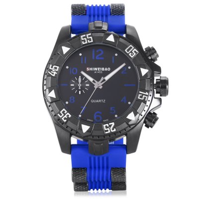 SHI WEI BAO 1368 Men Quartz WatchMens Watches<br>SHI WEI BAO 1368 Men Quartz Watch<br><br>Band material: Silicone<br>Band size: 27.7 x 2.40cm / 10.91 x 0.94 inches<br>Brand: Shiweibao<br>Case material: Alloy<br>Clasp type: Pin buckle<br>Dial size: 5.10 x 5.10 x 1.85cm / 2.01 x 2.01 x 0.73 inches<br>Display type: Analog<br>Movement type: Quartz watch<br>Package Contents: 1 x Watch<br>Package size (L x W x H): 10.30 x 7.85 x 7.34 cm / 4.06 x 3.09 x 2.89 inches<br>Package weight: 0.2800 kg<br>Product size (L x W x H): 27.70 x 5.10 x 1.85 cm / 10.91 x 2.01 x 0.73 inches<br>Product weight: 0.1790 kg<br>Shape of the dial: Round<br>Special features: Luminous<br>Watch color: Black, Red, Orange, Brown, Blue<br>Watch mirror: Mineral glass<br>Watch style: Business<br>Watches categories: Male table<br>Water resistance : 30 meters<br>Wearable length: 19.00 - 25.00cm / 7.48 - 9.84 inches