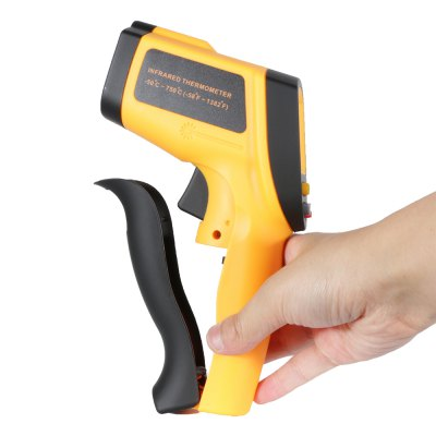 GM700 Non-contact Infrared ThermometerTemperature Instruments<br>GM700 Non-contact Infrared Thermometer<br><br>Accuracy  : 1.5 C or 1.5 percent<br>Certificate: CE,FCC,RoHs<br>Laser Beam: Class 2, less than 1mw<br>Material: ABS, Plastic<br>Maximum Show Value: 750 C<br>Measurement range : -50 to 750 C<br>Model: GM700<br>Package Contents: 1 x GM700 Infrared Thermometer, 1 x English Manual<br>Package size: 19.00 x 12.00 x 6.00 cm / 7.48 x 4.72 x 2.36 inches<br>Package weight: 0.3170 kg<br>Primary functions: Surface temperature measurement<br>Product size: 18.00 x 5.00 x 11.00 cm / 7.09 x 1.97 x 4.33 inches<br>Product weight: 0.1890 kg<br>Sampling Time: 500ms<br>Scope of application: Office, Industrial, Home appliance, Education, Agricultural<br>Temperature and humidity instrument: Infrared thermometer<br>Type: Measuring instruments<br>Working Mode: Infrared temperature measurement<br>Working Power: 9V battery