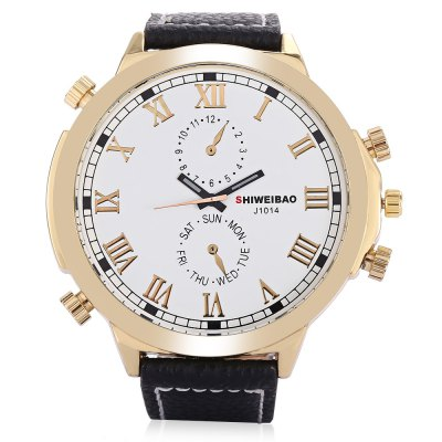 SHI WEI BAO A1052 Men Quartz WatchMens Watches<br>SHI WEI BAO A1052 Men Quartz Watch<br><br>Band material: Leather<br>Band size: 27.1 x 2.20cm / 10.67 x 0.87 inches<br>Case material: Alloy<br>Clasp type: Pin buckle<br>Dial size: 5.50 x 5.50 x 1.24cm / 2.17 x 2.17 x 0.49 inches<br>Display type: Analog<br>Movement type: Quartz watch<br>Package Contents: 1 x Watch<br>Package size (L x W x H): 10.30 x 7.85 x 7.34 cm / 4.06 x 3.09 x 2.89 inches<br>Package weight: 0.1800 kg<br>Product size (L x W x H): 27.10 x 5.50 x 1.24 cm / 10.67 x 2.17 x 0.49 inches<br>Product weight: 0.0800 kg<br>Shape of the dial: Round<br>Watch color: Black, Blue, White<br>Watch mirror: Mineral glass<br>Watch style: Fashion, Casual<br>Watches categories: Male table<br>Water resistance : 30 meters<br>Wearable length: 19.00 - 25.00cm / 7.48 - 9.84 inches