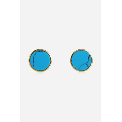 SHSTARHARVEST 925 Silver Round Fake Turquoise Alloy Drop Earrings
