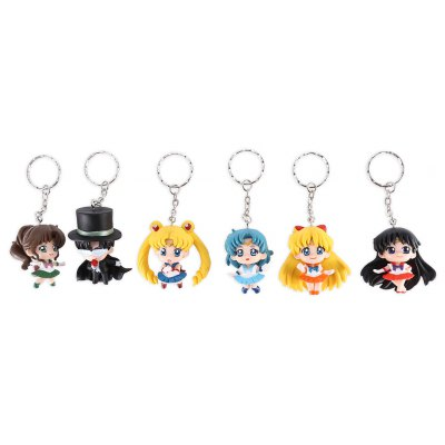 Alloy + PVC Key Chain Phone Wallet Decoration - 6pcs / set