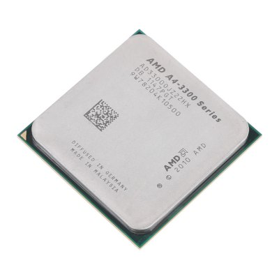AMD A4 - 3300 Series 2.5GHz Dual-core Socket FM1 CPUCPU<br>AMD A4 - 3300 Series 2.5GHz Dual-core Socket FM1 CPU<br><br>Brand: AMD<br>Chip Process: 32nm<br>CPU Frequency: 2.5 GHz<br>Hyper Transports Frequency: 1333MHz<br>Interface Type: Socket FM1<br>L2 Cache: 1MB<br>Model: A4 - 3300<br>Number of Cores: Dual Core<br>Package size: 7.00 x 12.00 x 2.00 cm / 2.76 x 4.72 x 0.79 inches<br>Package weight: 0.0700 kg<br>Packing List: 1 x AMD A4 - 3300 Series CPU<br>Product size: 4.00 x 4.00 x 0.70 cm / 1.57 x 1.57 x 0.28 inches<br>Product weight: 0.0390 kg