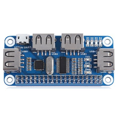 Waveshare 4 Ports USB HUB HATRaspberry Pi<br>Waveshare 4 Ports USB HUB HAT<br><br>Brand: Waveshare<br>Connectors: USB<br>Input Voltage: 5V<br>Interface: USB 2.0, Micro USB<br>Package Contents: 1 x USB HUB HAT, 1 x Micro USB Connector, 1 x Micro USB Cable<br>Package Size(L x W x H): 14.50 x 11.00 x 3.00 cm / 5.71 x 4.33 x 1.18 inches<br>Package weight: 0.0870 kg<br>Ports: USB, Mini USB<br>Product Size(L x W x H): 6.50 x 3.00 x 1.90 cm / 2.56 x 1.18 x 0.75 inches<br>Product weight: 0.0630 kg<br>Raspberry Pi Type: Adapter,Cable,Expansion Board