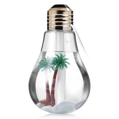 400ml Bulb Style Ultrasonic HumidifierDecorative Lights<br>400ml Bulb Style Ultrasonic Humidifier<br><br>Package Contents: 1 x Humidifier, 1 x Fake Tree Stone Pack, 1 x English / Chinese User Manual, 1 x Cotton Rod<br>Package size (L x W x H): 10.20 x 10.20 x 17.00 cm / 4.02 x 4.02 x 6.69 inches<br>Package weight: 0.1610 kg<br>Power (W): 2<br>Product size (L x W x H): 7.00 x 7.00 x 15.00 cm / 2.76 x 2.76 x 5.91 inches<br>Product weight: 0.0950 kg<br>Type: Upright<br>Voltage (V): DC 5<br>Water Tank Capacity (ml): 400