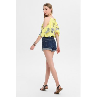 Floral Print Flounced Cold Shoulder Cami Tops for WomenBlouses<br>Floral Print Flounced Cold Shoulder Cami Tops for Women<br><br>Collar: Round Collar<br>Color: Yellow<br>Elasticity: Nonelastic<br>Embellishment: Flounce<br>Material: 100% Polyester<br>Package Content: 1 x Blouse<br>Package size (L x W x H): 37.00 x 30.00 x 1.00 cm / 14.57 x 11.81 x 0.39 inches<br>Package weight: 0.1800 kg<br>Pattern Type: Floral<br>Product weight: 0.1400 kg<br>Season: Summer<br>Shirt Length: Regular<br>Sleeve Length: Half Sleeves<br>Sleeve Type: Cold Shoulder<br>Style: Fashion