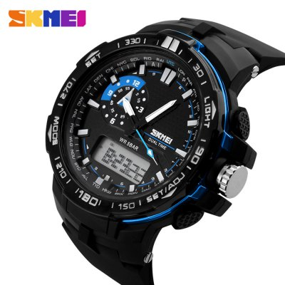 SKMEI 1081 Fashion Japan Movement LED Sports Men WatchSports Watches<br>SKMEI 1081 Fashion Japan Movement LED Sports Men Watch<br><br>Available Color: Blue,Green<br>Band material: PU<br>Band size: 25 x 2.8 cm / 9.84 x 1.1 inches<br>Brand: Skmei<br>Case material: PC<br>Clasp type: Pin buckle<br>Dial size: 4.9 x 4.9 x 1.4 cm / 1.93 x 1.93 x 0.55 inches<br>Display type: Analog-Digital<br>Hour formats: 12/24 Hour<br>Movement type: Quartz + digital watch<br>Package Contents: 1 x SKMEI 1081 Fashion Sports Watch<br>Package size (L x W x H): 26.00 x 6.40 x 2.40 cm / 10.24 x 2.52 x 0.94 inches<br>Package weight: 0.0970 kg<br>People: Male table<br>Product size (L x W x H): 25.00 x 5.40 x 1.40 cm / 9.84 x 2.13 x 0.55 inches<br>Product weight: 0.0660 kg<br>Shape of the dial: Round<br>Watch style: Outdoor Sports, Fashion<br>Water resistance : 50 meters<br>Wearable length: 16 - 22.5 cm / 6.30 - 8.86 inches