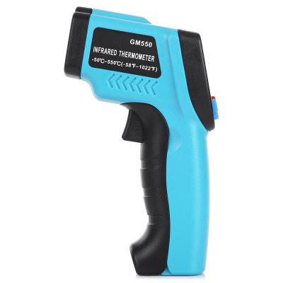 Laser Infrared Thermometer with LCD DisplayTemperature Instruments<br>Laser Infrared Thermometer with LCD Display<br><br>Package Contents: 1 x Infrared Thermometer, 1 x English User Manual<br>Package size (L x W x H): 20.00 x 14.00 x 4.50 cm / 7.87 x 5.51 x 1.77 inches<br>Package weight: 0.2080 kg<br>Product size (L x W x H): 15.00 x 8.50 x 4.20 cm / 5.91 x 3.35 x 1.65 inches<br>Product weight: 0.1470 kg<br>Range: -50-550 Degree Celsius<br>Temperature Type: Celsius, Fahrenheit