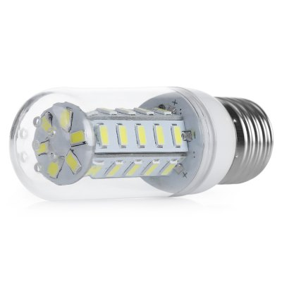 E27 5W LED Corn BulbCorn Bulbs<br>E27 5W LED Corn Bulb<br><br>Available Light Color: Warm White<br>CCT/Wavelength: 3000-3500K<br>Emitter Types: SMD 5730<br>Features: Low Power Consumption, Long Life Expectancy<br>Function: Outdoor lighting,  public places, Home Lighting, Commercial Lighting,  including building and landscape beautification,  playing fields,  stage lighting<br>Holder: E27<br>Luminous Flux: 650LM<br>Output Power: 5W<br>Package Contents: 1 x E27 LED Corn Light<br>Package size (L x W x H): 11.00 x 4.00 x 5.00 cm / 4.33 x 1.57 x 1.97 inches<br>Package weight: 0.0450 kg<br>Product size (L x W x H): 10.00 x 3.10 x 3.10 cm / 3.94 x 1.22 x 1.22 inches<br>Product weight: 0.0280 kg<br>Sheathing Material: PC, Aluminum<br>Total Emitters: 36<br>Type: Corn Bulbs<br>Voltage (V): AC 110<br>Wattage Range: 5-10W