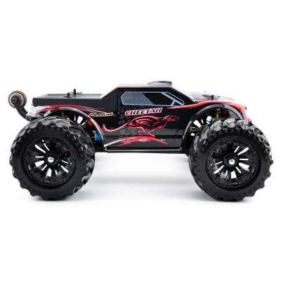 JLB Racing 11101 CHEETACH 1:10 Brushless Monster Truck RTRRC Cars<br>JLB Racing 11101 CHEETACH 1:10 Brushless Monster Truck RTR<br><br>Battery Information: 4000mAh 11.1V 30C waterproof LiPo ( built-in )<br>Brand: JLB Racing<br>Car Power: Built-in rechargeable battery<br>Channel: 2-Channels<br>Charging Time: 6 - 7 Hours<br>Detailed Control Distance: 150 - 200m<br>Drive Type: 4 WD<br>Features: Radio Control<br>Functions: Flip, Forward/backward, Head Up, Turn left/right<br>Motor Type: Brushless Motor<br>Package Contents: 1 x RC Truck, 1 x Transmitter, 1 x Charger ( with Cable )<br>Package size (L x W x H): 58.00 x 42.00 x 26.00 cm / 22.83 x 16.54 x 10.24 inches<br>Package weight: 5.8400 kg<br>Product size (L x W x H): 50.00 x 39.00 x 20.50 cm / 19.69 x 15.35 x 8.07 inches<br>Product weight: 3.8400 kg<br>Proportion: 1:10<br>Racing Time: About 35mins<br>Remote Control: 2.4GHz Wireless Remote Control<br>Speed: 70 - 80km/h<br>Transmitter Power: 4 x 1.5V AA (not included)<br>Type: Monster Truck